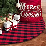 yuboo Red and Black Plaid Buffalo Christmas Tree Skirt,50 Inches Double Layers Checked Tree Skirts Mat for Xmas Holiday Party Decorations