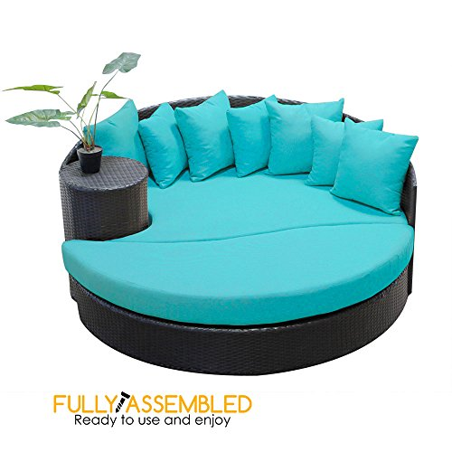 All Weather - Daybed - Chaise Lounge - Nassau by bOutdoors Round Sun Bed - Outdoor Black Wicker Patio Sofa Furniture - Aruba