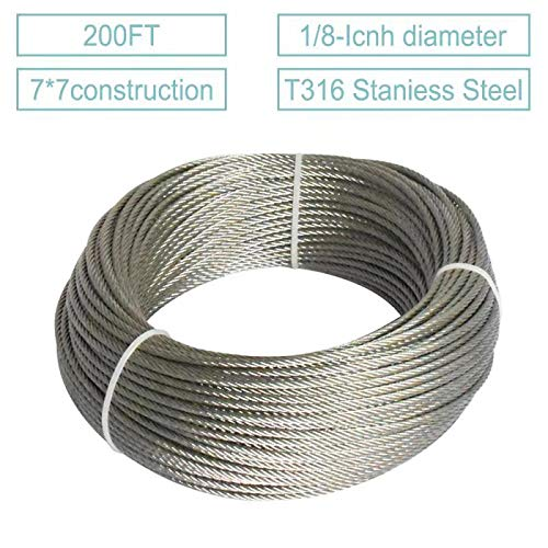 200FT 316T-Stainless Steel Cable 1/8'' Wire Rope for Stair Railing Decking DIY Balustrade -