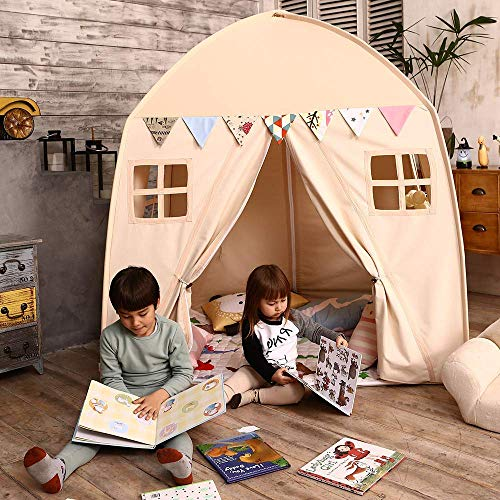 - Love Tree Kids Play Tent Castle Large Teepee Tent for Kids with Mat Portable Playhouse Children House Fort Indoor Outdoor Use with Carry Bag for Boys and Girls Beige