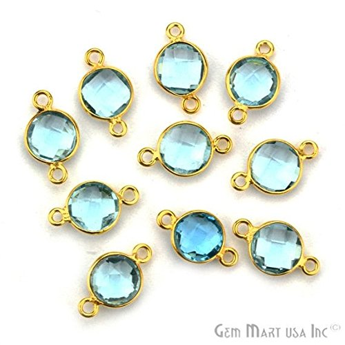 Hydro Blue Topaz, Bezel Round Shape Connector, 8mm Round 24k Gold Plated, Double Bail 1pc. (HB-10206)