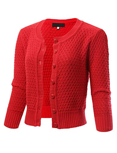 Womens Button Down 3/4 Sleeve Crewneck Cropped Knit Cardigan Crochet Sweater M Red