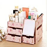 Homeself Fashion DIY Wooden Makeup Storage Display Box Jewelry Cosmetic Beauty Organizer with Mirror 3 Drawer (Pink)
