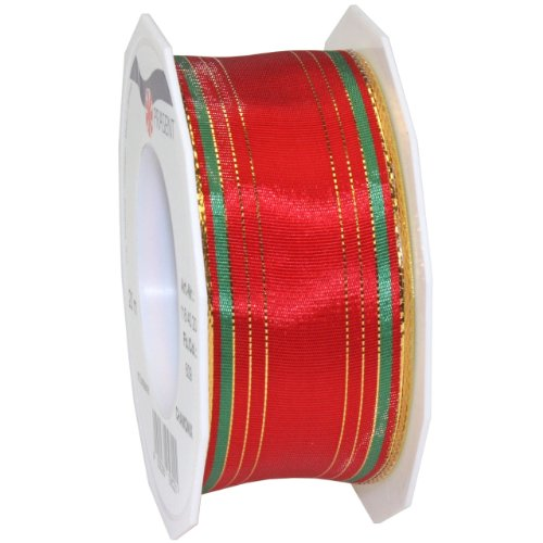 Tafetta Bow (Morex Ribbon Chamonix Wired Metallic Taffeta, 1-1/2 by 22-Inch Yard Spool, Red)