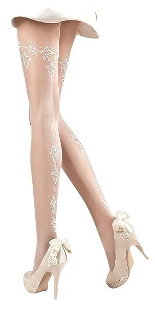 2f2ce4be1d88b4 Ballerina Damen-Strumpfhose, weiß, 20 DEN, mit Muster Größen Small ...