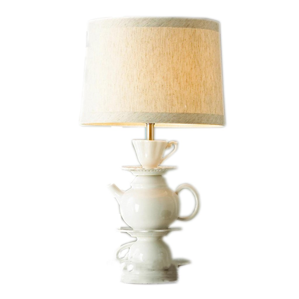 LU-Table lamp Creative modern Chinese-style lighting teapot tea cups ceramic table lamp home hotel living room decoration desk lamp ( Color : Beige )