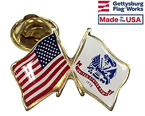 US Army Lapel Pin crossed with American Flag, double waving, Made in USA
