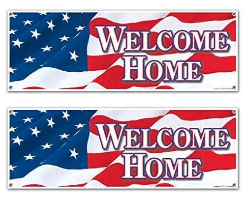 Cartel con texto en inglés'Welcome Home', 2 piezas, Rojo/Blanco/Azul, 1