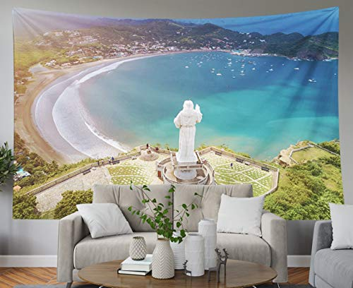 Shorping Father Gift Tapestry, 60x50Inches Home Wall Hanging Tapestries Art for Décor Living Room Dorm Tour for Jesus Christ Statue in Nicaragua Above View on San Juan del sur (Living In San Juan Del Sur Nicaragua)