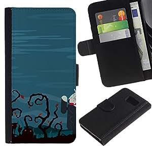 KLONGSHOP / Tirón de la caja Cartera de cuero con ranuras para tarjetas - Funny Zombie Tech - Samsung Galaxy S6 SM-G920