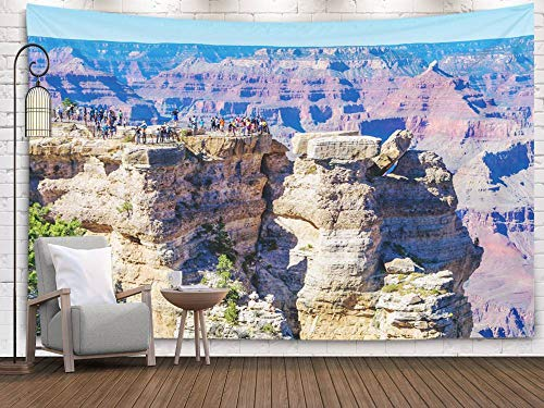 Bisead Wall Art for Bedroom Tapestry, Map Art Tapestry 80x60 inchs Grand Canyon National Park USA October People Enjoy Beautiful Morning in Point The Most Wall Hanging Gifts for Bedroom Dorm Décor