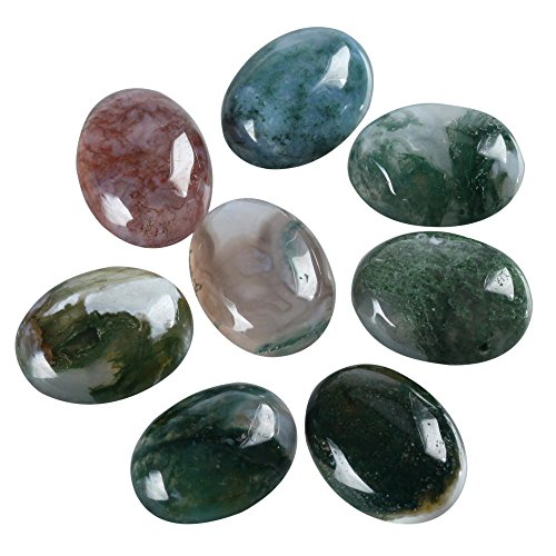 8pcs Top Quality Natural Moss Agate Oval Cabochon Flatback Gemstone Cabochons 20x15mm ()