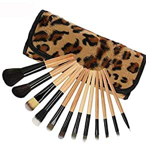 12 pieces Professional Makeup Brushes Gift Set with Faux Animal Print Carry Bag - Brown
