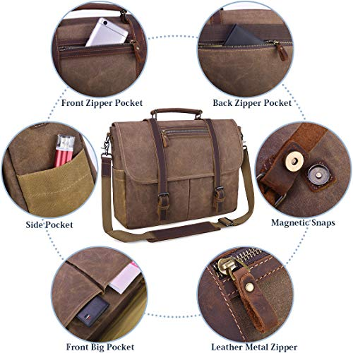 Mens Messenger Bag 15.6 Inch Waterproof Vintage Waxed Canvas Satchel Briefcase Shoulder Bag Retro Distressed Business Computer Laptop Leather Messenger Bag Brown by NUBILY (Image #2)