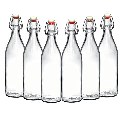 Set of 6-33.75 Oz Giara Glass Bottle with Stopper Caps, Carafe Swing Top Bottles with Airtight Lids for Oil, Vinegar, Beverages, Liquor, Beer, Water, Kombucha, Kefir, Soda, By California Home Goods