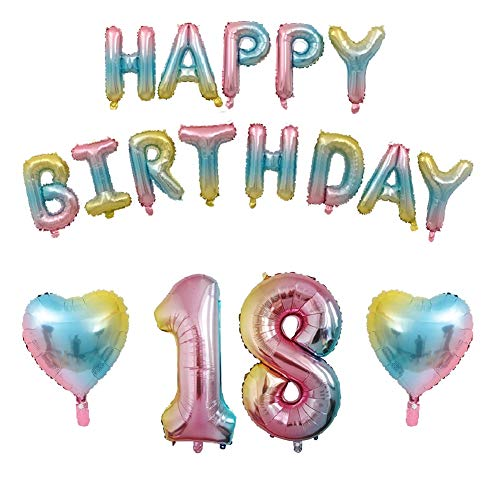 18th Birthday Decorations Gradient Balloons Happy Birthday Balloons Rainbow Happy Birthday Banner, Colorful Letters Balloons Foil Balloons for Birthday Party Decorations (18th) ()