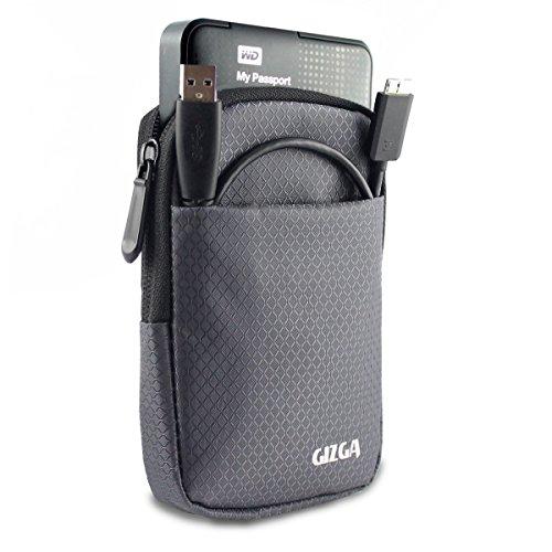 GIZGA 2.5″ Hard Drive Case – Impact Resistant Jacket Pouch (Slate-Grey)