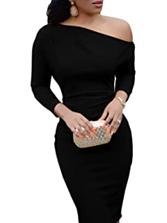 d5ca1dc63088db Ybenlow Womens One Off Shoulder Long Sleeve Bodycon Sheath Pencil Midi  Dresses