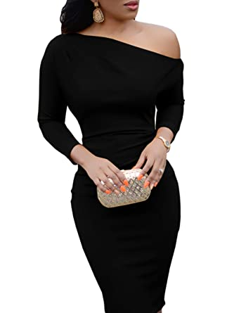 bc1aad0379d6 Bigyonger Womens One Shoulder Long Sleeve Bodycon Club Evening Party Midi Dresses  Black