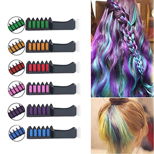 FightingGirl Temporary Bright Hair Chalk Comb,Non-Toxic Washable Hair Colors for Kids, Teens, and Adults, Hair Dyeing Party and Cosplay DIY,6 Colors by FightingGirl
