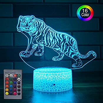 HLLKYYLF Baby Tiger Gifts Tiger Light 16 Color Changing Kids Lamp with Touch and Remote Control Tiger Toys Light as Gift Idea for Home Decor or Birthday Gifts for Baby (Tiger)
