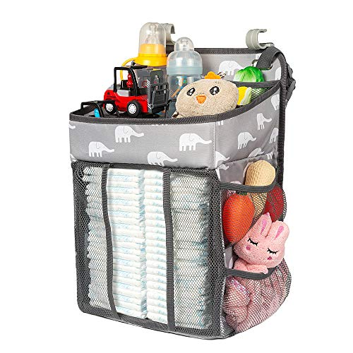 Selbor Diaper Caddy Organizer, Hanging Diaper Stacker Storage Bag for Changing Table, Crib, Playard or Wall - Nursery Organization & Baby Shower Gifts for Newborn