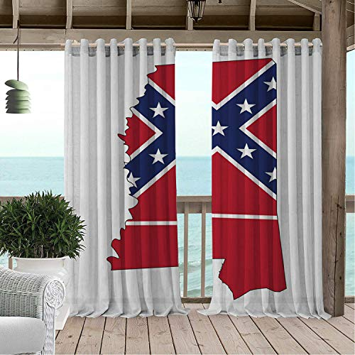 Linhomedecor Outdoor Waterproof Curtain Mississippi Magnolia State Map Flag Outline United States Print Dark Coral Cobalt Blue and White doorways Grommets Parties Curtain 108 by 108 inch - Mississippi State Flower Magnolia