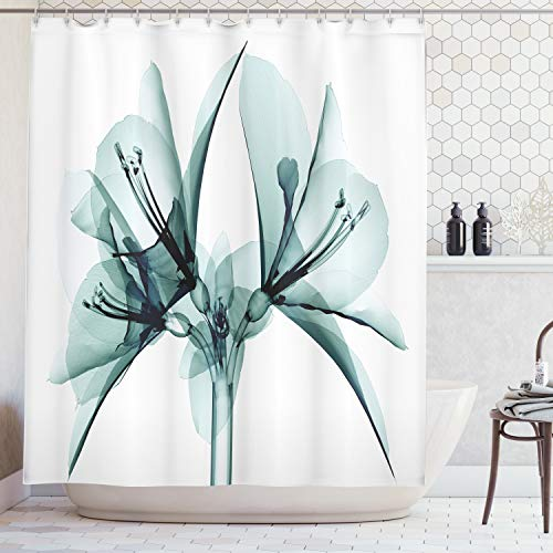 Ambesonne Xray Flower Decor Collection, Illustration of a Blooming Transparent Flower X-ray Vision of Nature Solarized Print, Polyester Fabric Bathroom Shower Curtain Set with Hooks, Teal White