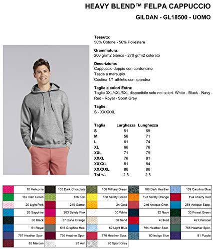 White Uomo Heavy 270 Kiarenzafd Gl18500 Cappuccio Gildan Felpa Gr Blend zpfwB