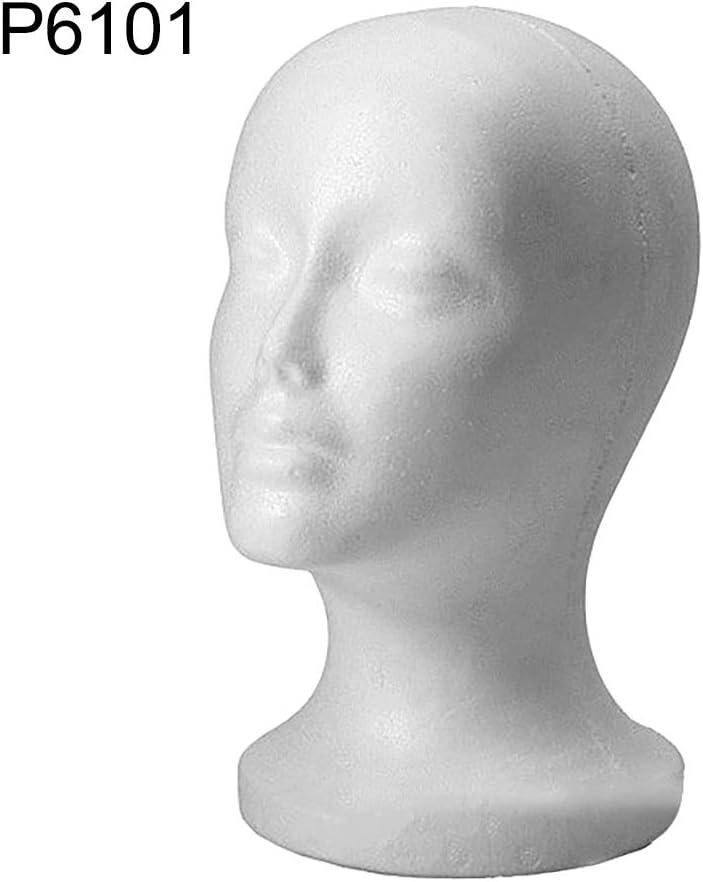 KOqwez33 1Pack Styrofoam Mannequin Head 53.5cm 28cm PE Styrofoam Adult Model Wig Head Sunglasses Eyeglass Hat Cap Display Stand Holder for Home Salon 1