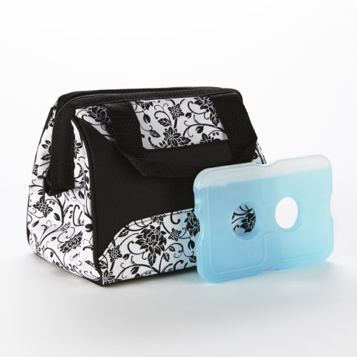 fit-fresh-ladies-downtown-insulated-lunch-bag-with-ice-pack-exterior-pocket-with-zipper-closure-ebon
