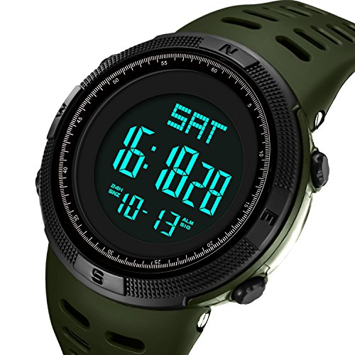 Mens Watches Fashion Digital Electronic Waterproof Military Green LED Sport Multifunction Wrist Watch by FIZILI
