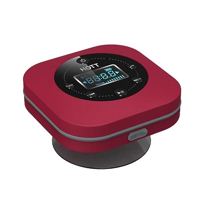 Amazon.com: DXNSPF Bathroom Alarm Clock Sound Adsorption Portable Waterproof Bluetooth Speakers Radio Clock Display, white: Home & Kitchen