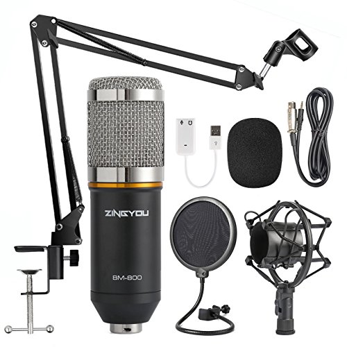 ZINGYOU Condenser Microphone Bundle, BM-800 Mic Kit with Adjustable Mic Suspension Scissor Arm, Shock Mount and Double-layer Pop Filter for Studio Recording & Brocasting (BM-800 Microphone Bundle) (Recording Piano Microphone)