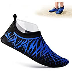Rtdep Barefoot Shoes, Unisex Barefoot Flexible Water Skin Shoes Aqua Socks for Beach Swin,Diving,Snorkeling,Running Trainers,Surf Yoga Exercise (Blue Black, US W:10~11M | US M:8.5~9.5M)