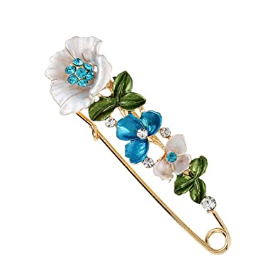 c997e4d4aaa Buy Sixshine Ladies Brooches Flower Brooch Pins Scarves Shawl Clip Brooches  for Women Vintage-Blue Online at Low Prices in India   Amazon Jewellery  Store ...