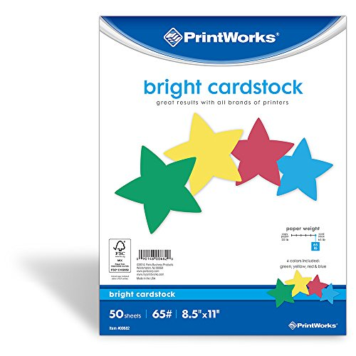 Printworks Bright Cardstock, 65 lb, 4 Assorted Colors, FSC Certified, 50 Sheets, 8.5 x 11 (00682)