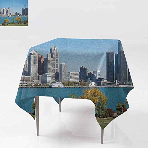 AndyTours Spillproof Tablecloth,Detroit,Industrial City Center Shoreline River Scenic Panoramic View in a Sunny Day,Great for Buffet Table, Parties& More,70x70 Inch Blue Green -