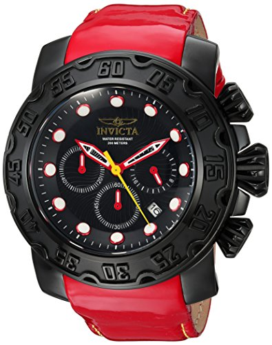 Invicta Men's Lupah Stainless Steel Quartz Watch with Leather-Calfskin Strap, red, 26 (Model: - Dragon Lupah Invicta