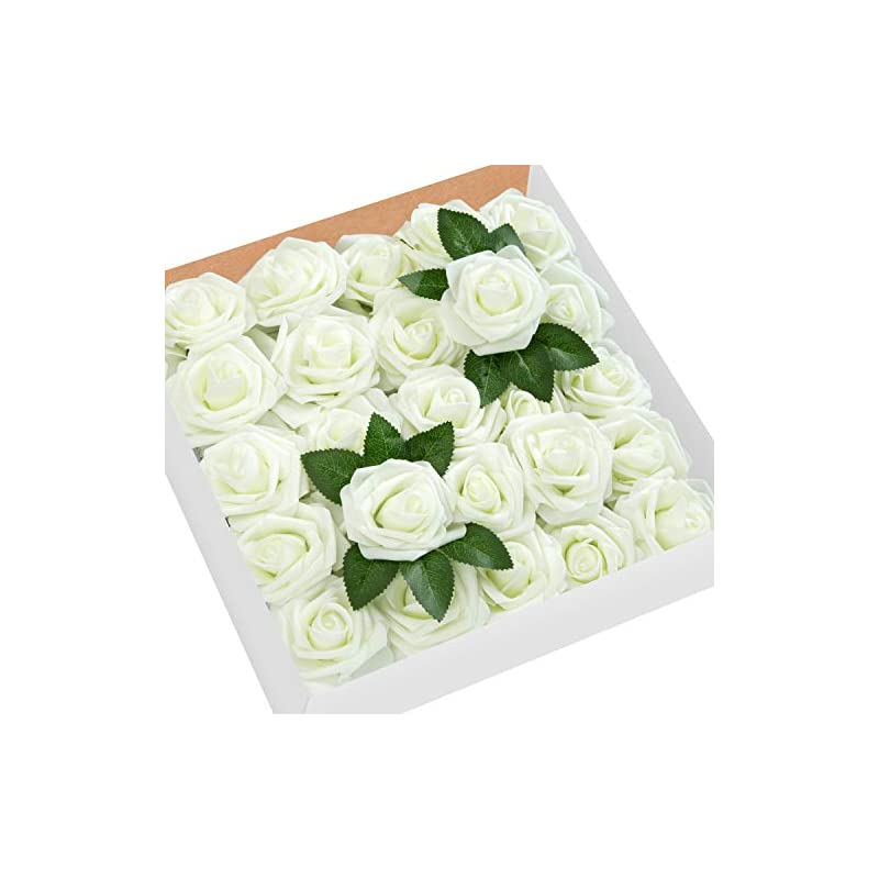 silk flower arrangements moonla artificial flowers ivory roses 50pcs real looking fake flowers foam roses w/stem diy wedding bouquets centerpieces baby shower party home decorations