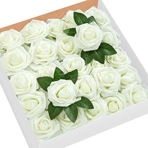 (MoonLa Artificial Flowers Ivory Roses 50pcs Real Looking Fake Flowers Foam Roses w/Stem DIY Wedding Bouquets Centerpieces Baby Shower Party Home Decorations)