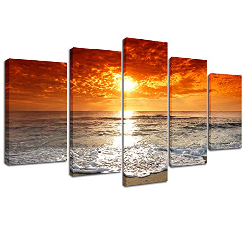 Lingula Art Wall Painting Beach Clouds Sunset Sea Wave Posters and Prints On Canvas Wall Art Framed Picture Seascape Home Decor Modern Decoration 5 Panels ()