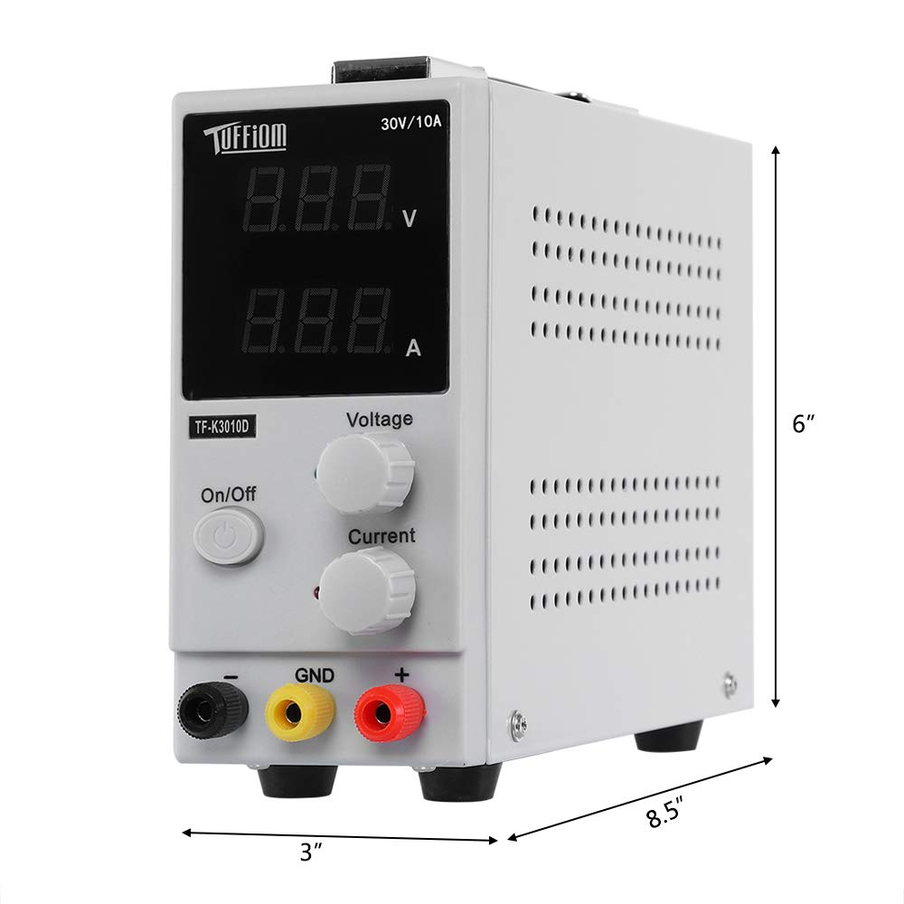 TUFFIOM DC Power Supply Variable 0-10A/0-30V| Portable Adjustable Switching Regulated, 3 Digit LCD Display & Alligator Leads US Power Cord, for Lab/Electronic Repair/DIY/Aging Test, 110V/ 220V by TUFFIOM (Image #8)