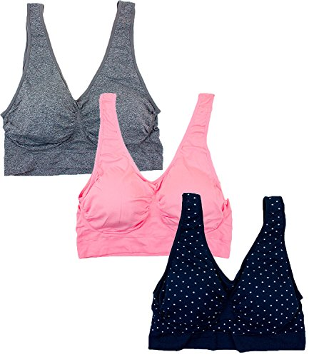 Barbra 3 Pack Women's Plus Size Seamless Comfort Sports Bras with Removable Pads (2XL, Heather Gray, English Rose, Black w/White Dots)