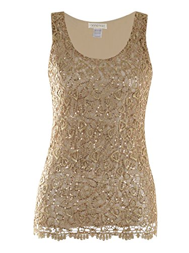 - Anna-Kaci Womens Casual Formal Embroidered Lace Sequin Sleeveless Shirt Tank Top, Gold, Large