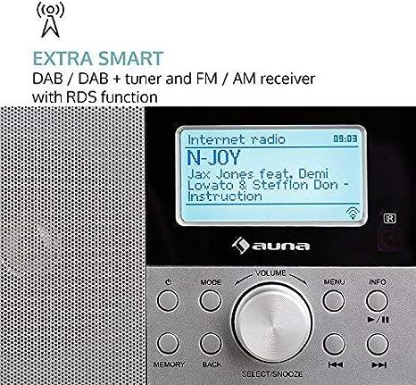 Digitalradio LCD-Display Netzwerkplayer Fernbedienung UKW//MW-Empf/änger Internetradio WLAN-Radio MP3-USB-Port Wecker auna Worldwide DAB//DAB+ Tuner wei/ß Sleep-Timer