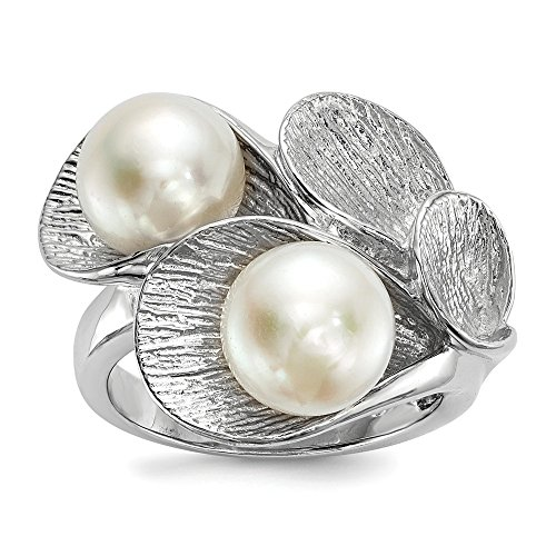 925 Sterling Silver Rh 9mm White Button Freshwater Cultured Pearl Band Ring Size 8.00 Fine Jewelry Gifts For Women For Her ()