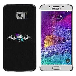 rígido protector delgado Shell Prima Delgada Casa Carcasa Funda Case Bandera Cover Armor para Samsung Galaxy S6 EDGE SM-G925 /Bat Skull/ STRONG