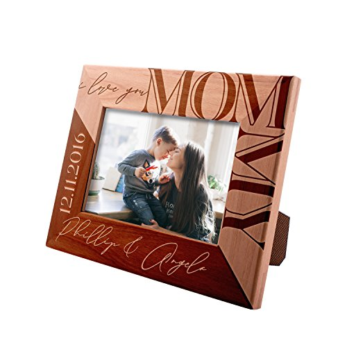 (Personalized Mom Gifts Picture Frame, Gifts for Mom - I Love You Mommy Custom Engraved Frame with Names & Date )