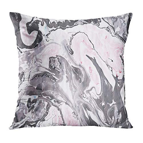 Acrylic Velvet Painting - TOMKEYS Throw Pillow Cover Gray Acrylic Black and Pink Marble Ink Abstract Painting Beautiful Red Aqua Aquatic Decorative Pillow Case Home Decor Square 20x20 Inches Pillowcase